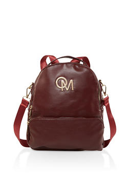 Faux Leather Zip Backpack - WINE - 3124040321361
