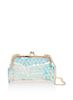 Faux Pearl Studded Iridescent Clutch - 3124040321448