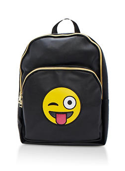 Silly Emoji Faux Leather Backpack - 3124040322910