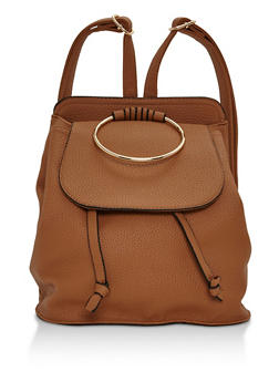 Faux Leather Mini Backpack with Metal Ring Detail - COGNAC - 3124041656517