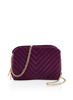 Chevron Stitch Quilted Crossbody Bag - 3124061590615