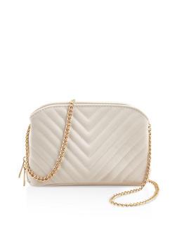 Chevron Stitch Quilted Crossbody Bag - 3124061590615