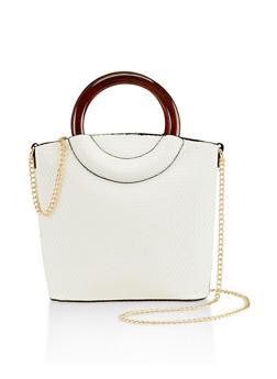 Plastic Handle Crossbody Bucket Bag - White - 3124061590773