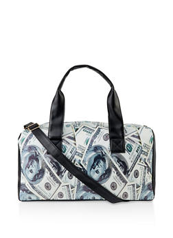 Dollar Bill Print Duffel Bag - 3124061592000