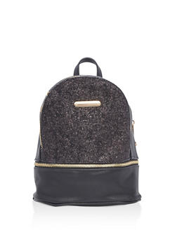 Small Faux Leather Glitter Backpack - 3124061595024