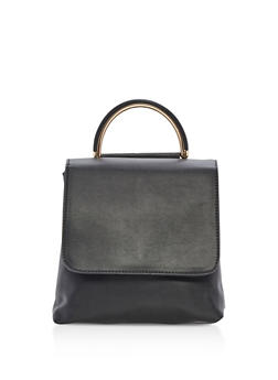Small Faux Leather Backpack with Metallic Handle - 3124061595101
