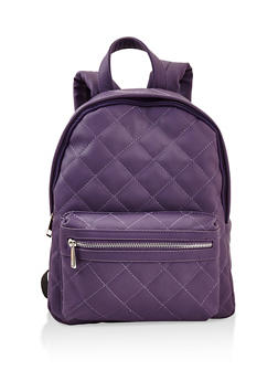 Quilted Backpack - PURPLE - 3124061595325