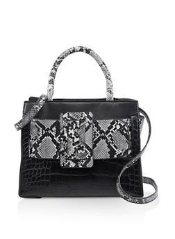 Snake Print Belt Crossbody Tote Bag - 3124061595580