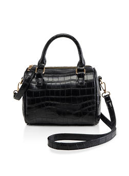 Faux Croc Leather Crossbody Bowler Bag - 3124061595600