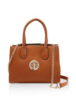 Metallic Emblem Crossbody Handbag - 3124061595640