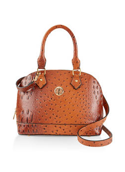 Faux Ostrich Leather Bowler Bag - 3124061595720