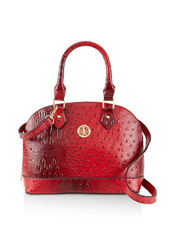 Faux Ostrich Leather Bowler Bag - 3124061595720