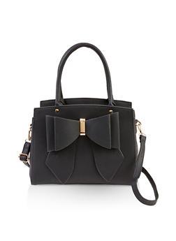 Bow Faux Leather Handbag - 3124061595820