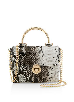 Mini Metallic Handle Crossbody Satchel - 3124061596812