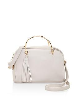 Metallic Handle Tassle Crossbody Bag - 3124061596930