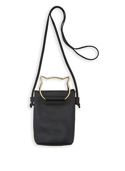 Cat Handle Faux Leather Crossbody Bag - 3124061597090