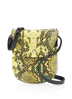 Textured Faux Leather Snake Print Crossbody Bag - 3124061597720