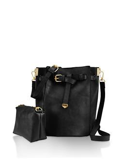 Faux Leather Crossbody Bucket Bag - 3124061597740