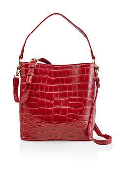 Faux Croc Bucket Bag - 3124061597960