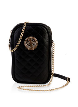 Quilted Metallic Medallion Crossbody Bag - 3124061599040