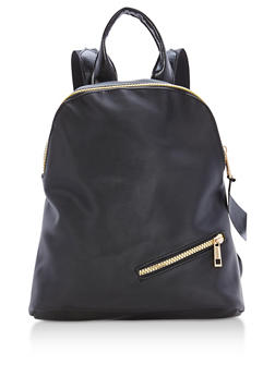 Nylon Backpack with Zipper Details - 3124067440107