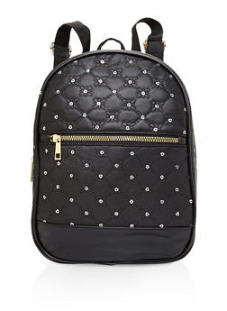 Sequin Detail Faux Leather Backpack - 3124067440147