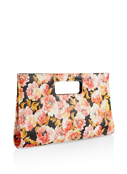 Floral Faux Leather Clutch - 3124067441008
