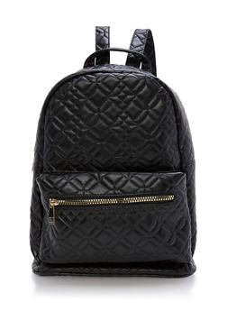 Quilted Faux Lether Backpack - 3124067441170