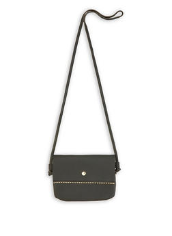 Beaded Trim Faux Leather Crossbody Bag - 3124067441172