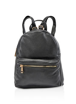 Pebbled Faux Leather Backpack - 3124067441308