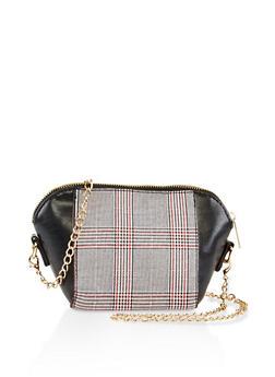 Plaid Faux Leather Crossbody Bag - 3124067442080
