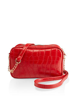 Faux Croc Double Zip Crossbody Bag - 3124067442111