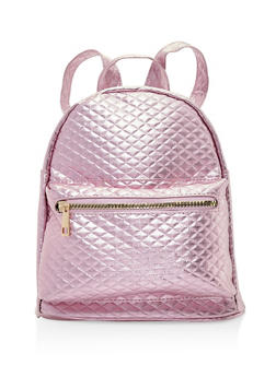Quilted Faux Leather Backpack - LILAC - 3124067442207