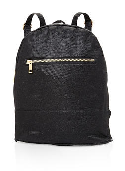 Glitter Double Zip Backpack - BLACK - 3124067442507