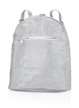 Glitter Double Zip Backpack - SILVER - 3124067442507