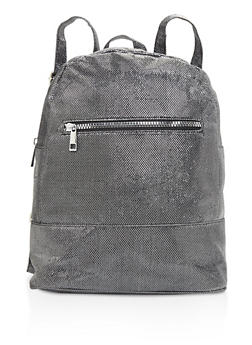 Glitter Double Zip Backpack - BLACK/SILVER - 3124067442507