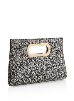 Metallic Lace Cut Out Clutch - 3124067442544