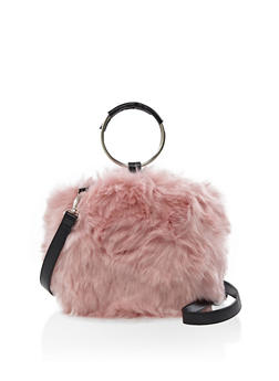 Faux Fur Round Handbag - 3124067443145