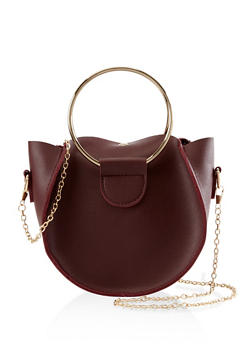 Round Faux Leather Crossbody Bag - 3124067445108