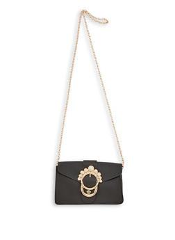 Faux Pearl Buckle Crossbody Bag - 3124067445882