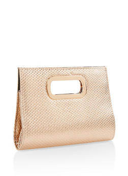 Woven Faux Leather Clutch - 3124067446107