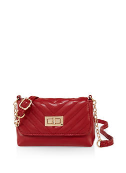 Small Chevron Quilted Crossbody Bag - 3124067446209