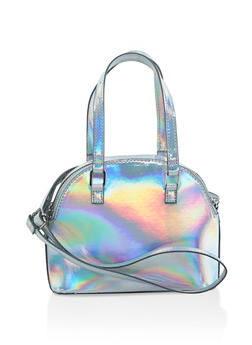 Iridescent Faux Leather Crossbody Bag - 3124067446531