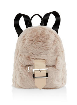Buckle Faux Fur Backpack - NATURAL - 3124067446688