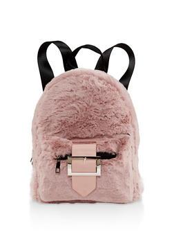 Buckle Faux Fur Backpack - 3124067446688