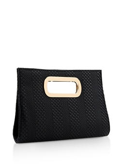 Woven Faux Leather Clutch - 3124067447032