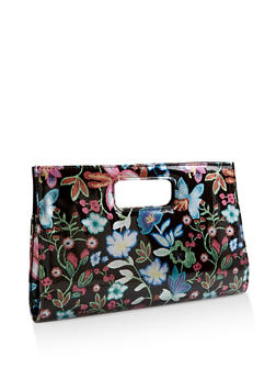 Floral Faux Patent Leather Clutch - 3124067448003