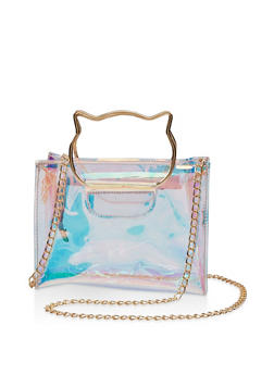 Square Iridescent Cat Handle Crossbody Bag - 3124067448012