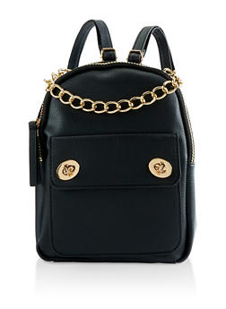 Faux Leather Chain Handle Backpack - BLACK - 3124067448013