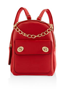 Faux Leather Chain Handle Backpack - RED - 3124067448013